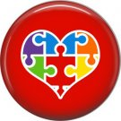 Puzzle in Heart on Red, Autism Awareness 1 Inch Button Badge Pin - 0505