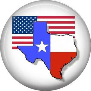 USA and Texas Flag, 1 Inch Texas Pride Pinback Button - 0801