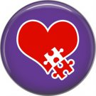 Red Heart with Puzzle Piece on Purple, Awareness 1 Inch Button Badge Pin - 0514