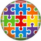Puzzle Pieces, Awareness 1 Inch Button Badge Pin - 0523