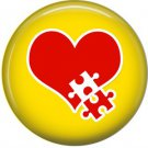 Red Heart with Puzzle Piece on Yellow, Autism Awareness 1 Inch Button Badge Pin - 0531