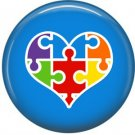 Puzzle Heart on Blue, Autism Awareness 1 Inch Button Badge Pin - 0535