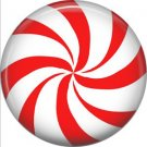 Red and White Peppermint Candy, 1 Inch Button Badge Pin - 0302