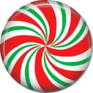 Red White Green Peppermint Candy, 1 Inch Button Badge Pin - 0300