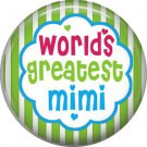 Worlds Greatest Mimi, Mothers Day 1 Inch Pinback Button Badge Pin - 2505