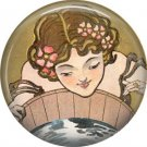 Lady Waiting to See Face of Future Love, 1 Inch Button Badge Pin of Vintage Halloween Image - 0487