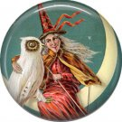 Witch with Owl Sitting on Moon, 1 Inch Button Badge Pin of Vintage Halloween Image - 0486