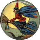 Witch with Lantern on Broom, 1 Inch Button Badge Pin of Vintage Halloween Image - 0476