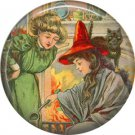 Fortune Teller Witch, 1 Inch Button Badge Pin of Vintage Halloween Image - 0470