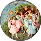 Women Dancing, 1 Inch Button Badge Pin of Vintage Halloween Image - 0464