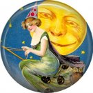 Witch Flying Past Moon on Broom, 1 Inch Button Badge Pin of Vintage Halloween Image - 0474
