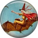 Witch Flying on Bat, 1 Inch Button Badge Pin of Vintage Halloween Image - 0479