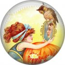 Pretty Girl with Mirror and Owl, 1 Inch Button Badge Pin of Vintage Halloween Image - 0473