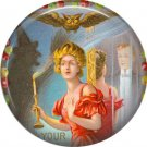 Lady Holding Candlestick, 1 Inch Button Badge Pin of Vintage Halloween Image - 0478