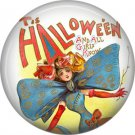 Lady with Big Bow Tie, 1 Inch Button Badge Pin of Vintage Halloween Image - 0466