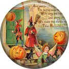 Trick or Treaters, 1 Inch Button Badge Pin of Vintage Halloween Image - 0483
