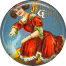 Lady in Red Dress, 1 Inch Button Badge Pin of Vintage Halloween Image - 0477