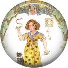 Girl Handling Snake, 1 Inch Button Badge Pin of Vintage Halloween Image - 0471