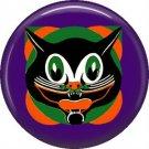 Mid Century Image Halloween Cat, Retro 1 Inch Pinback Button Badge Pin - RH 01