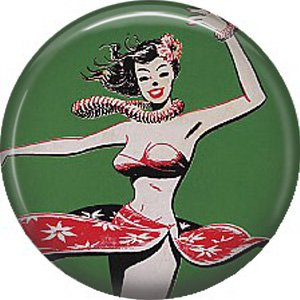 1 Inch Mid Century Retro Hula Girl, Tropical Button Badge Pin - 0903