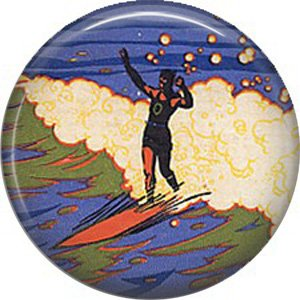 Surfer on Surf Board, One Inch Vintage Image on Ephemera Lapel Pin Button Badge - 0909