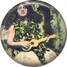 Girl Playing Ukulele, One Inch Vintage Hawaii Image on Ephemera Lapel Pin Button Badge - 0910