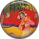 Mid Century Hula Dancer, One Inch Vintage Image on Ephemera Lapel Pin Button Badge - 0914
