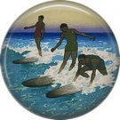 Surfers, One Inch Vintage Hawaiian Image on Ephemera Lapel Pin Button Badge - 0922