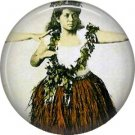 Hula Dancer, One Inch Vintage Hawaiian Image on Ephemera Lapel Pin Button Badge - 0923