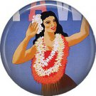 Hula Dancer, One Inch Vintage Hawaiian Travel Poster Image on Ephemera Lapel Pin Button Badge - 0924