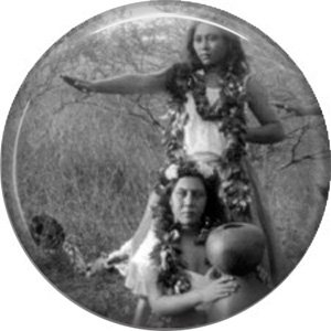 Hula Dancer and Girl with Pot, 1 Inch Vintage Image on Ephemera Lapel Pin Button Badge - 0925