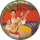 Mid Century Hawaiian Playing Guitar on One Inch Ephemera Lapel Pin Button Badge - 0940