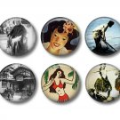 Set of 12 Vintage Hawaiian Images on 1 Inch Pinback Button Badge Pins - Set 5