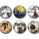 Set of 10 Vintage Hawaiian Images on 1 Inch Pinback Button Badge Pins - Set 6