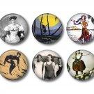 Set of 10 Vintage Hawaiian Images on 1 Inch Scrapbook Flair Medallions - Set 6