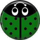 Green Ladybug, 1 Inch Button Badge Pinback - 2519