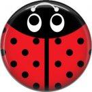 Tomato Red Ladybug, 1 Inch Button Badge Pinback - 2518