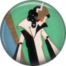 Art Deco Style Lady in Stylish Coat, 1 Inch Button Badge Pin Back - AD07