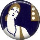 Art Deco Style Lady with Long Neck, 1 Inch Button Badge Pin Back - AD11
