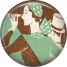 Art Deco Girls, 1 Inch / 25.4 mm Button Badge Pin Back - AD23