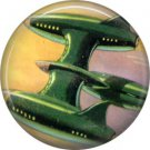 Mid Century View of Green Space Ship, Retro Future 1 Inch Button Badge Pin - 0639