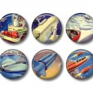 Set of 12 Retro Future on 1 Inch Scrapbook Flair Medallions - Set 1