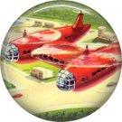 Duo Copters, Retro Future 1 Inch Button Badge Pin - 0642