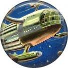 Spaceship in Flight, Retro Future 1 Inch Button Badge Pin - 0643
