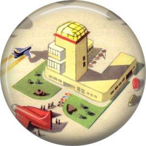 Airport, Retro Future 1 Inch Pinback Button Badge Pin - 0649