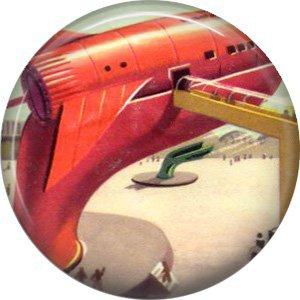 Jet Bridge to Spaceship, Retro Future 1 Inch Pinback Button Badge Pin - 0650