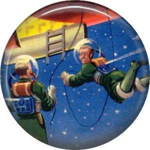 Space Walk, Retro Future 1 Inch Pinback Button Badge Pin - 0654