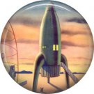 Mid Century Rocket Ship, Retro Future 1 Inch Pinback Button Badge Pin - 0662