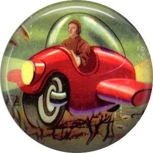 Aeroplane Car, Retro Future 1 Inch Pinback Button Badge Pin - 0666