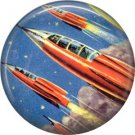 Blasting Off in Red Rocket Ships, Retro Future 1 Inch Pinback Button Badge Pin - 0668